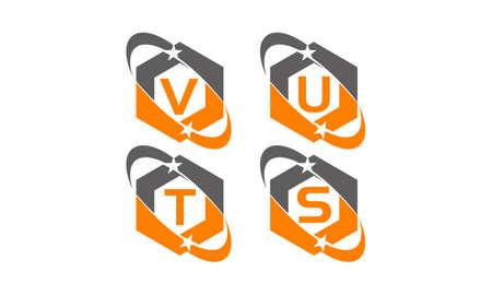 Star swoosh letter V, U, T, S template design set illustration.