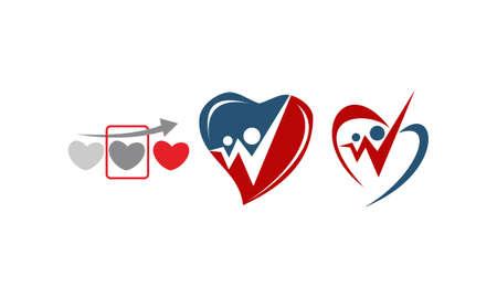 Heart care template design set illustration.