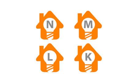 Smart home letter N, M, L, K template design set illustration. Ilustração