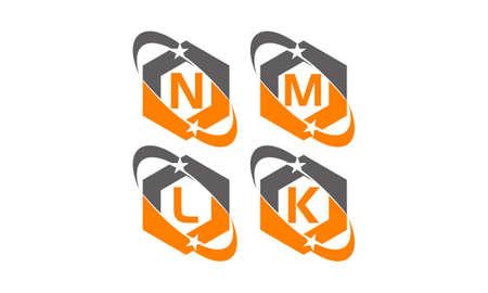 Star swoosh letter N, M, L, K template design set illustration.