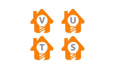 Smart home letter V, U, T, S template design set illustration.