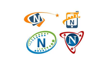 Logotype N Modern Template Set
