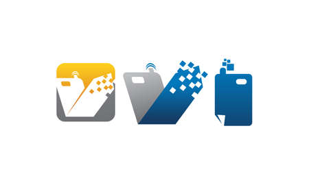 Mobile Phone Applications Center Set Illustration
