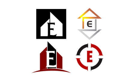 Logotype E Modern Template Set Illustration