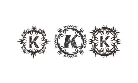 Rough Letter K Template Set