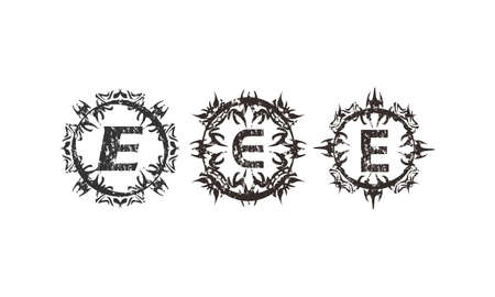 Rough Letter E Template Set Иллюстрация