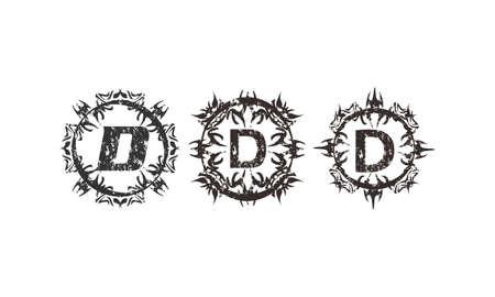 Rough Letter D Template Set