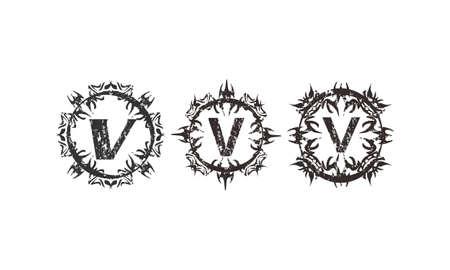 Rough Letter V Template Set