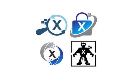 Technology Application X Template Set Illustration