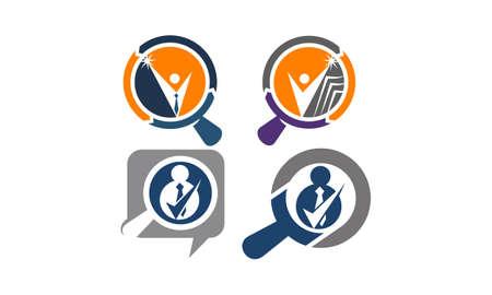 Search Job Template Set Illustration