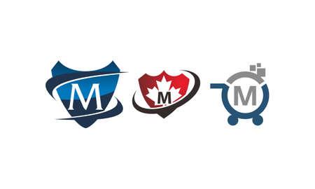 Shield shop letter M template design set illustration. Illustration