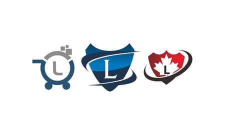 Shield shop letter L template design set illustration.