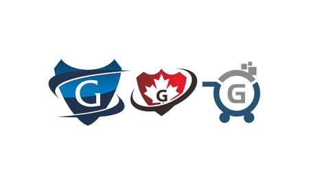 Shield shop letter G template design set illustration. Illustration