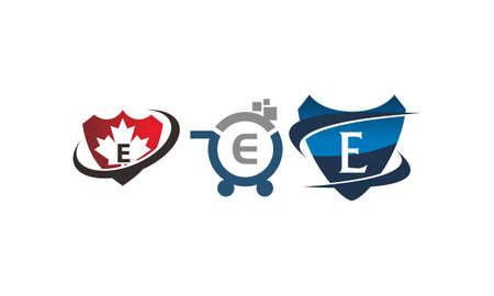 Shield shop letter E template design set illustration. Illustration