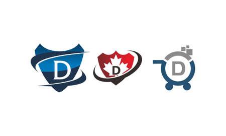 Shield shop letter D template design set illustration. Illustration