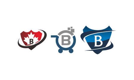 Shield shop letter B template design set illustration.