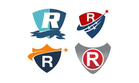 Star swoosh letter R template design set illustration.