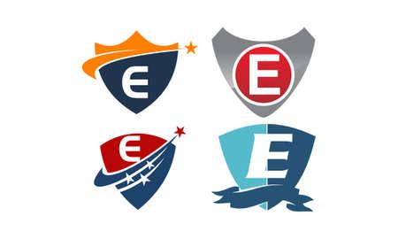 Star swoosh letter E template design set illustration.