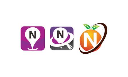 Pin location fruit letter N template design set illustration.