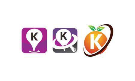 Pin location fruit letter K template design set illustration.