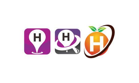 Pin location fruit letter H template design set illustration. Illustration