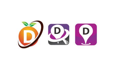 Pin location fruit letter D template design set illustration. Illustration