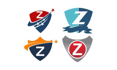 Star swoosh letter Z template design set illustration. Illustration