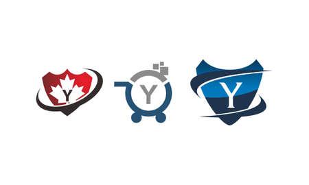 Shield shop letter Y template design set illustration.