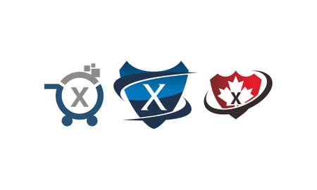 Shield shop letter X template design set illustration. Illustration
