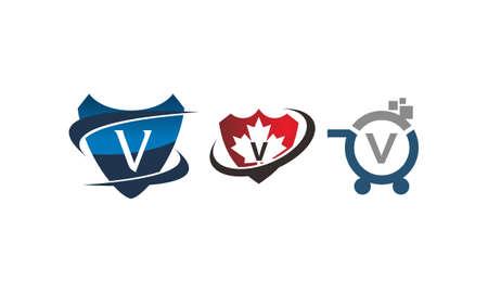 Shield shop letter V template design set illustration.