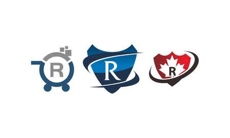 Shield shop letter R template design set illustration. Illustration