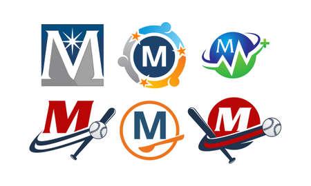 Icon letter M modern template design set illustration.
