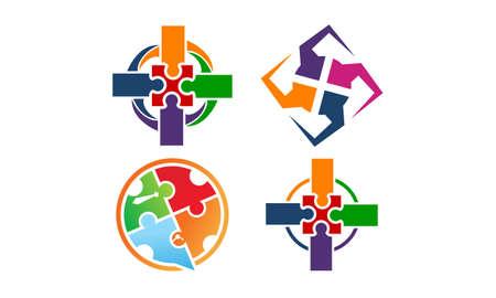 Success life coaching teamwork set vector illustration. Illustration