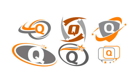 Letter Q Modern icon Template Set