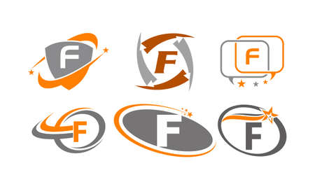 Letter F Modern icon Template Set