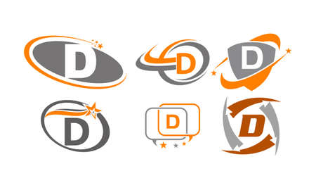 Letter D Modern icon Template Set