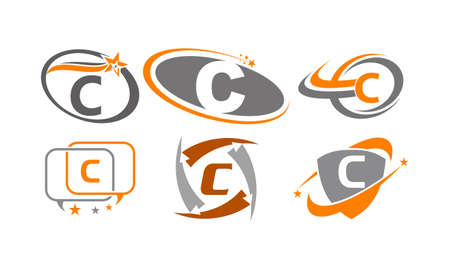 Letter C Modern icon Template Set