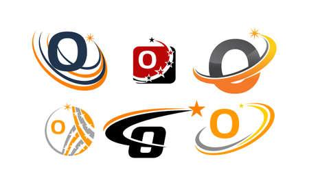 Icon letter O modern template design set illustration. Vetores