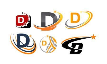 Icon letter D modern template design set illustration.