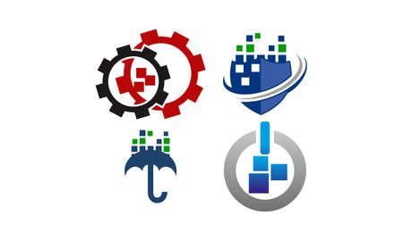 Technologie virtuele sjabloon Set Vector Illustratie