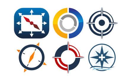 Compass Marketing Business Distribution Set Vectores