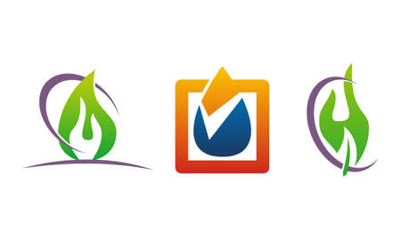Oil Water Gas Solution icon set on white background.