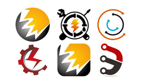 Electricity Home service Template Set for logos Illusztráció