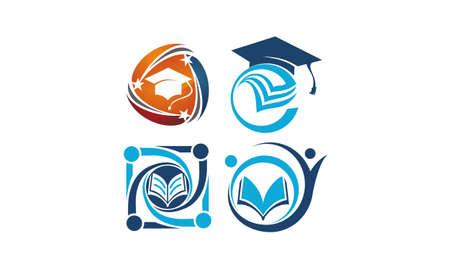 書籍と卒業キャップを持つ教育ベクトルテンプレートセット 写真素材 - 96831707