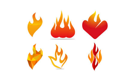 Fire Vector Template Set Illustration