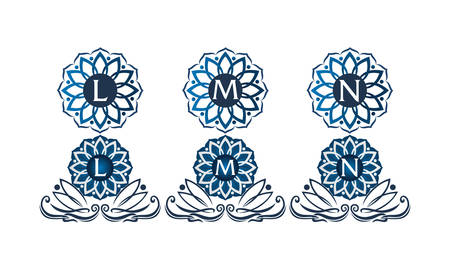 Flower Elegant Template Set with letters