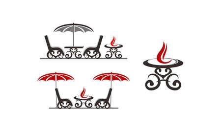 Fireplace Veranda Template Set Illustration