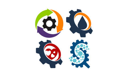 Gear Template Icon Set For Logos Royalty Free Cliparts, Vectors, And ...