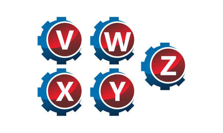 Gear icon Template Set with letters