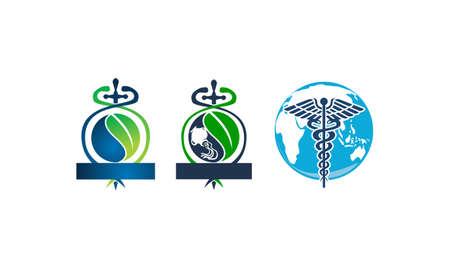 Sword Caduceus Leaf Emblem Blank Template Set Ilustracja